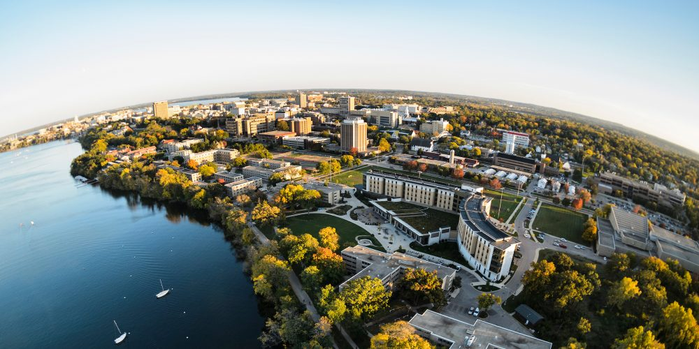 Aerial photograph of the UW–Madison campus and Lake Mendota