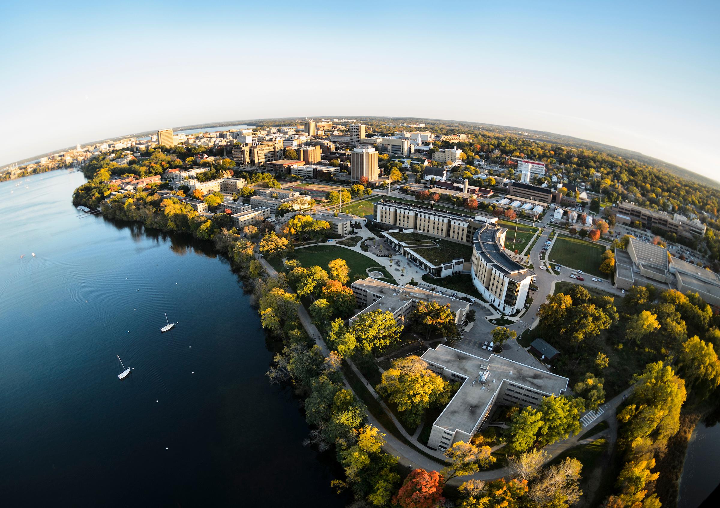 Aerial photograph of the UW–Madison campus and Lake Mendota