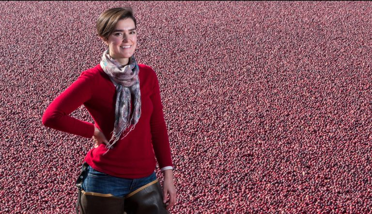 Woman standing in field of cranberries