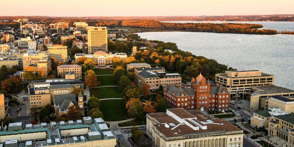 Aerial view of UW–Madison campus